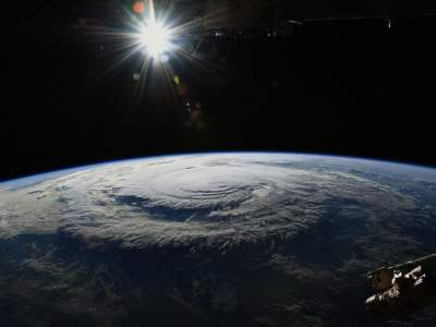 An astronaut has captured a powerful storm from space