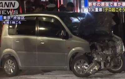 Car slams into pedestrians on Tokyo road, injuring 8 people